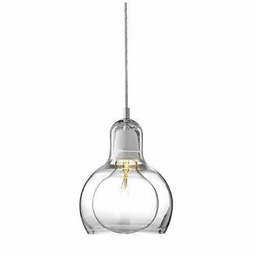 Modern Pendelleuchte Runden Glas Lampenschirm Hängelampe für Küchen insel Bar Cafe Balkon Esszimmer Esstisch Nachttisch Foyer Treppe Loft Kronleuchter E27 4W LED Glühbirne Inkl. Leuchte