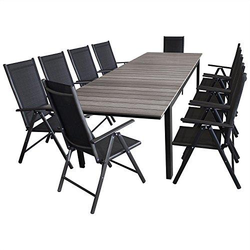 Multistore 2002 11tlg. Sitzgruppe Gartengarnitur Sitzgarnitur Ausziehtisch, Aluminiumrahmen, Polywood Tischplatte grau, 160/210/260x95cm + 10x Hochlehner, klappbar, 2x2 Textilenbespannung