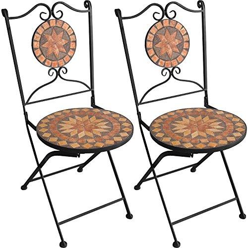 Multistore 2002 2er Set Mosaikstühle Mosaik Gartenstühle Klappstühle Bistrostühle Balkonstühle klappbar