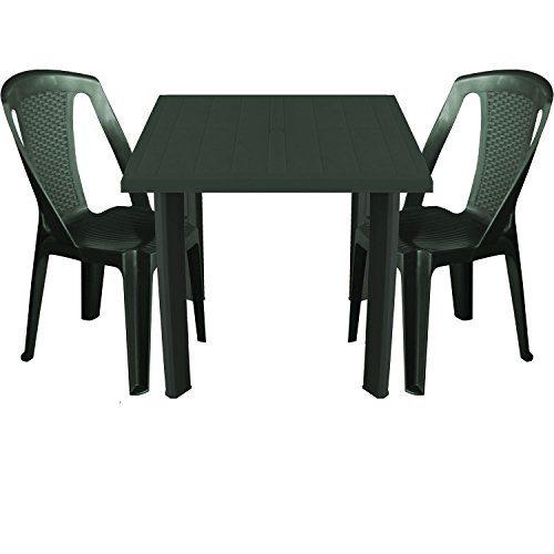Multistore 2002 3tlg. Balkonmöbel Kunststoff Gartentisch 80x75cm + 2X stapelbare Gartenstühle in Rattan-Optik Sitzgruppe Sitzgarnitur - Dunkelgrün
