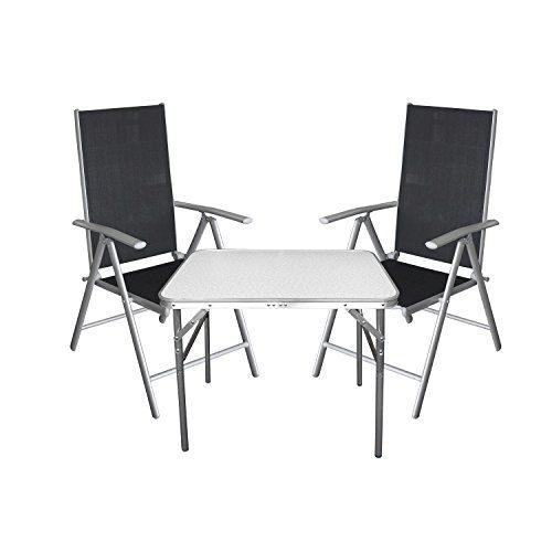 Multistore 2002 3tlg. Campingmöbel Balkonmöbel Gartenmöbel Set Sitzgruppe Aluminium Campingtisch Klapptisch + Hochlehner Gartenstuhl mit 7-fach verstellbarer Rückenlehne