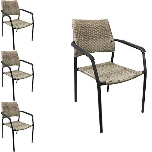Multistore 2002 4 Stück Stapelstuhl mit Armlehne, Metallgestell beschichtet mit Polyrattan-Bespannung, Grau/Naturfarben, Gartenstuhl Campingstuhl Terrassenstuhl