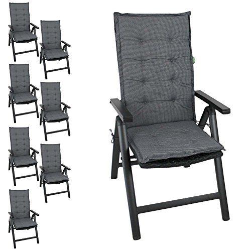 Multistore 2002 8er Set Elegante Gartenstuhlauflage Stuhlauflage Polsterauflage Hochlehner 110x44cm - 4cm dick Sitzauflage Sitzpolsterauflage Sitzkissenpolster