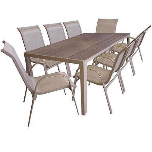 Multistore 2002 9er Gartengarnitur Aluminium Gartentisch mit Polywood-Tischplatte, 205x90cm, Stapelstuhl pulverbeschichtet mit Textilenbespannung, Gartenmöbel Set