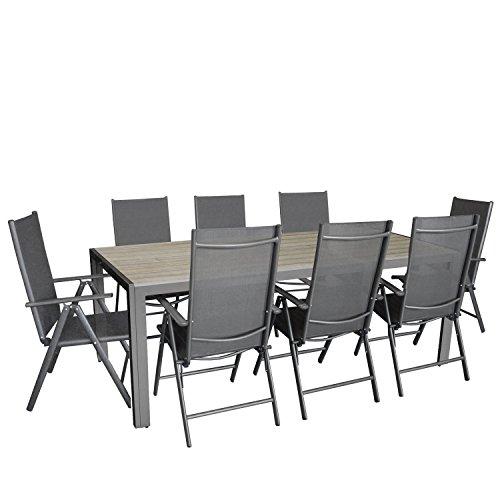 Multistore 2002 9tlg. Garten Sitzgarnitur, Aluminium Gartentisch Tischplatte Polywood 205x90cm, 8X Hochlehner mit 2x2 Textilenbespannung, 7-Fach verstellbar, klappbar, anthrazit