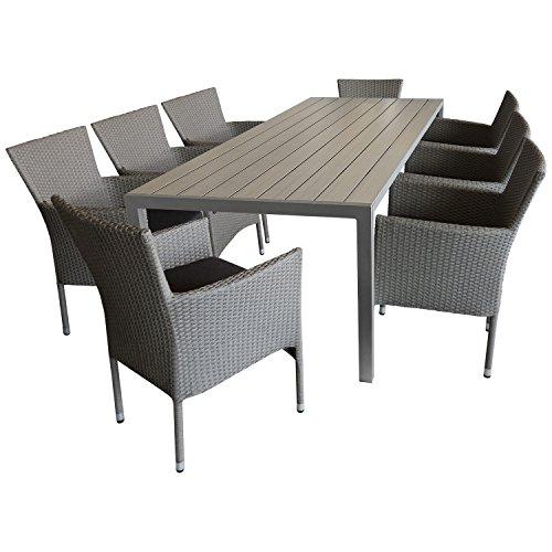 Multistore 2002 9tlg. Sitzgruppe Gartengarnitur Terrassenmöbel Gartenmöbel Set - Gartentisch, 205x90cm, Polywood-Tischplatte grau + 8X Sessel, Poly Rattan, stapelbar, grau-meliert, inkl. Kissen
