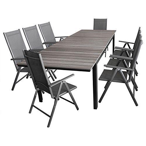 Multistore 2002 9tlg. Sitzgruppe Gartentisch, Polywood-Tischplatte grau, ausziehbar, 200/250/300x95cm + 8X Gartenstuhl, klappbar, 7-Fach verstellbar, 2x2 Textilen