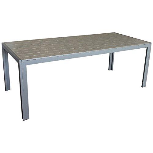 Multistore 2002 Eleganter Gartentisch für bis zu 8 Personen Aluminium Polywood/Non Wood Tischplatte 205x90cm grau/grau Esszimmertisch Küchentisch Esstisch Gartenmöbel Terrassenmöbel Esszimmermöbel