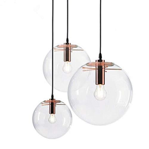 NHX Deckenleuchten Moderne Kreative Glas Pendelleuchte Vintage Industrielle Metall Glaskugel Runde Pendelleuchte Retro Deckenleuchte E27 (Enthält Keine Glühbirnen)
