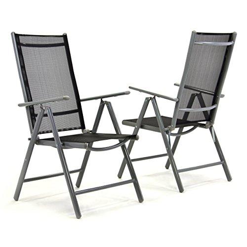 Nexos 2er Set Klappstuhl Komfortbreite Hochlehner Gartenstuhl Campingstuhl Liegestuhl – Sitzmöbel Garten Terrasse Balkon – Stuhl aus Aluminium - schwarz