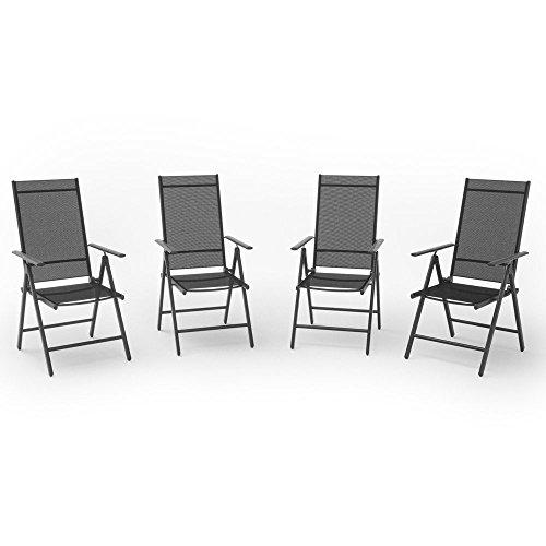 OSKAR 4er Set Alu Gartenstuhl Klappstuhl Hochlehner Campingstuhl Aluminium Liegestuhl
