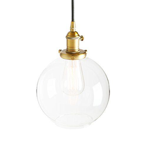 Pathson Antike Pendelleuchte Industrie Loft-Pendelleuchte Kugel Klar Glas Pendelleuchte Hängeleuchte Vintage Hängelampen