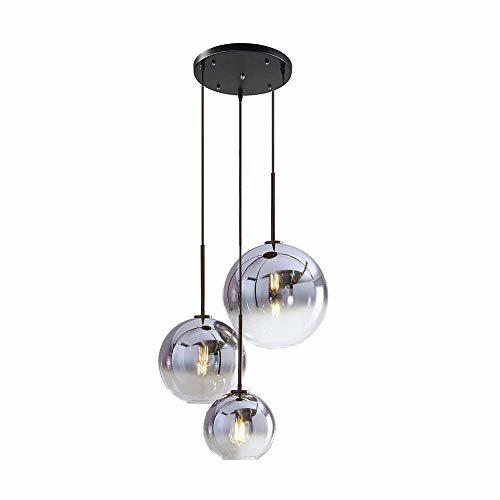 Pendelleuchte Modern Design Runde Hängeleuchte Esstisch Lampe Farbverlauf Glas Lampenschirm, E27 Schraubenhalter Glaskugel Licht Wohnzimmer Esszimmer Kronleuchter Schatten Ion Silber