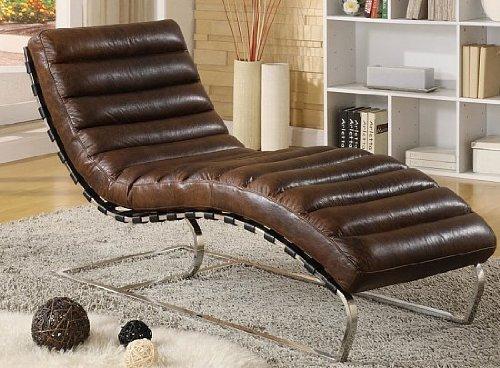 Phoenixarts Chaise Echtleder Vintage Leder Relaxliege Braun Design Recamiere Liege Sessel Chaiselongue Ledersessel NEU 436
