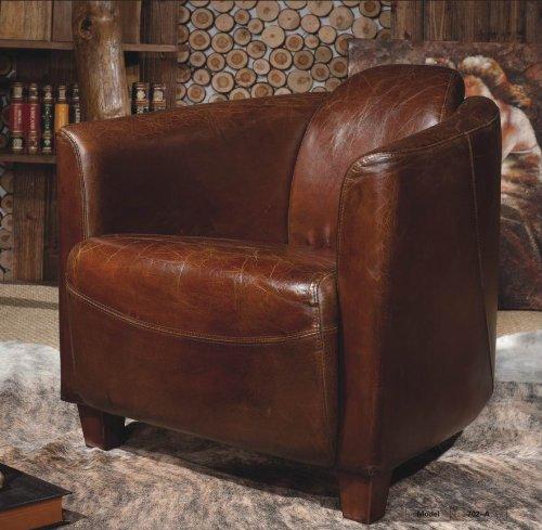Phoenixarts Echtleder Vintage Sessel Ledersessel Braun Design Lounge Clubsessel Sofa Möbel NEU 443