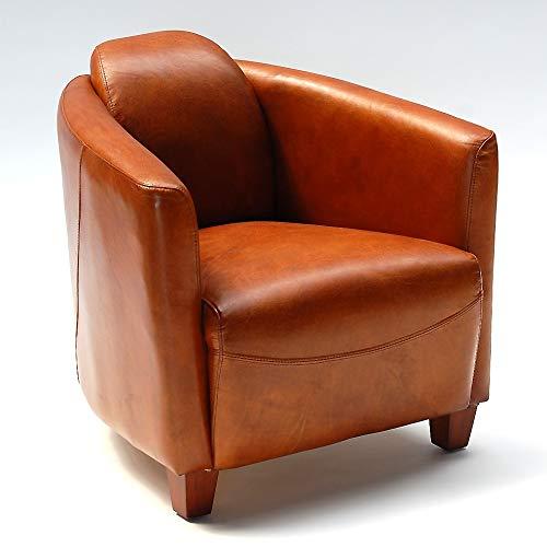 Phoenixarts Vintage Ledersessel Braun Echtleder Sessel Design Lounge Clubsessel Sofa 543