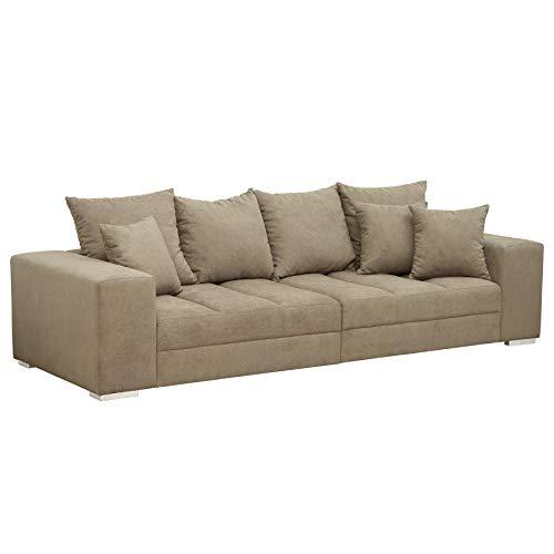 Riess Ambiente Design XXL Sofa Big Sofa Island Soft Baumwolle Greige inkl. Kissen Couch