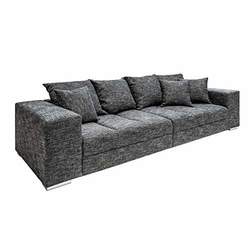 Riess Ambiente Design XXL Sofa Big Sofa Island in grau Charcoal Strukturstoff inkl. Kissen Couch