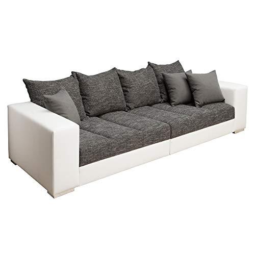 Riess Ambiente Design XXL Sofa Big Sofa Island in weiß grau Charcoal Strukturstoff inkl. Kissen Couch