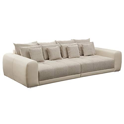 Riess Ambiente Modernes XXL Sofa GIANT LOUNGE in greige Wohnzimmer Couch beige aus Strukturstoff Federkern
