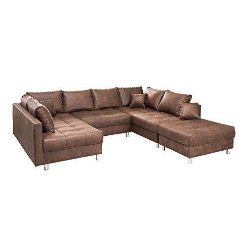 Riess Ambiente Modernes XXL Sofa Kent 305cm braun Federkern inkl. Hocker und Kissen Ecksofa Eckcouch Wohnlandschaft