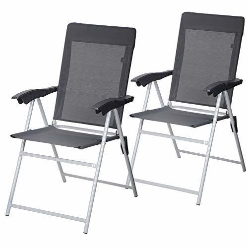 SONGMICS Gartenstuhl, 2er-Set, klappbar, Klappstuhl mit Armlehnen, komfortabler Sitz, hoch, verstellbar, bis 150 kg belastbar, Outdoor Stuhl, grau GCB03GY