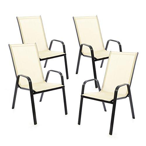 SONLEX 4er Set Gartenstuhl Stapelstuhl Stapelsessel Hochlehner Terrassenstuhl – Textilene Stahlgestell – pflegeleicht robust stapelbar – Farbe: Rahmen schwarz/Bespannung Creme