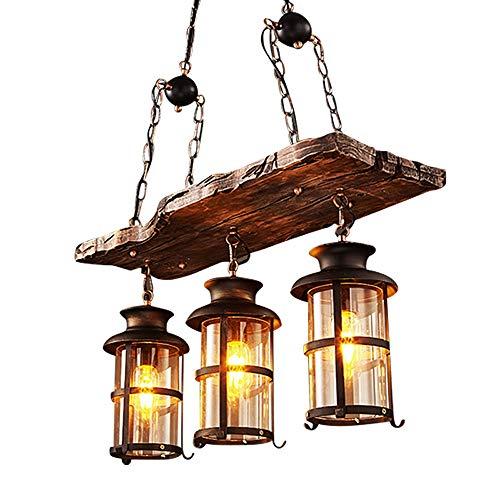 Vintage Pendellampe Loft Stil Anhänger Lampe Antik Holz Hängelampe Metall Eisen Industrielle Design Kronleuchter Rund Glas Pendelleuchte Jahrgang Wohnzimmer Schlafzimmer Retro Küchenleuchte Esszimmer