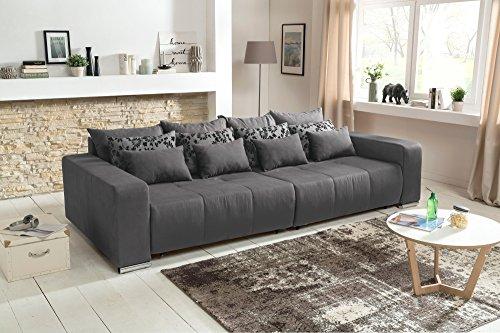 lifestyle4living Big Sofa, Mega-Sofa, XXL-Sofa, Kuschelsofa, XXL-Couch, Big Couch, Schlaffunktion, Kissen, grau, Sofa, Couch, Riesensofa