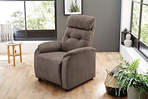 lifestyle4living Fernsehsessel, Sessel, Relaxsessel, Liegefunktion, Verstellbar, Microfaser, braun, Antiklederoptik, Körperdruckverstellung