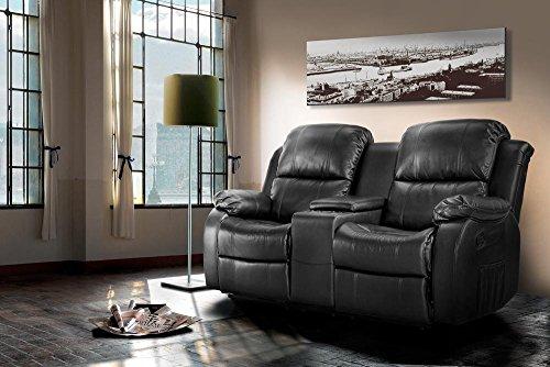 lifestyle4living Kinosessel 2-Sitzer, Kunstleder, schwarz | Hochwertiger 2er Cinema-Sessel/Sofa mit Getränkehalter & Liegefunktion für entspannte Heimkino-Abende