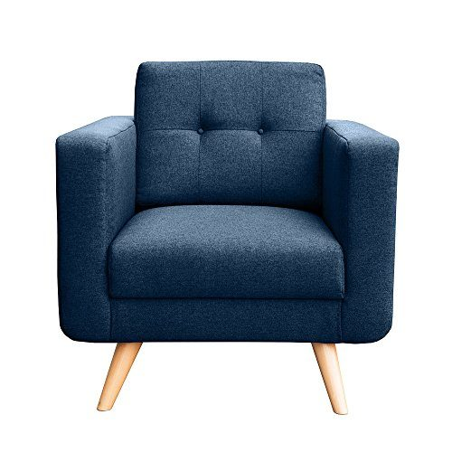 myHomery Sessel Hedvig gepolstert - Polsterstuhl für Esszimmer & Wohnzimmer - Lounge Sessel mit Armlehnen - Eleganter Retro Stuhl aus Stoff mit Holz Füßen -