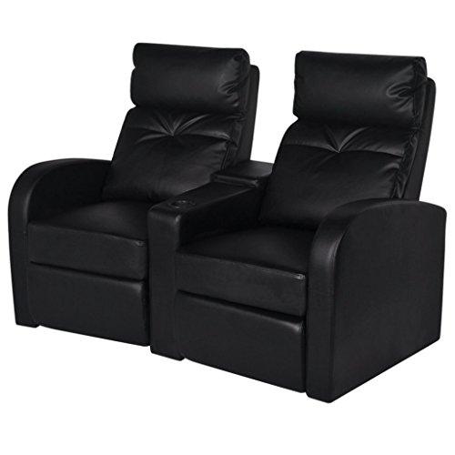 vidaXL Cinema Sessel Fernsehsessel Kinosessel Heimkino Kunstleder Relaxsessel 2-Sitzer