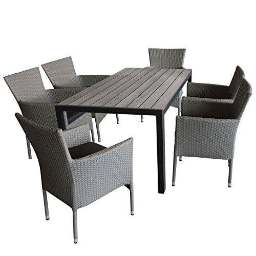 7tlg. Gartengarnitur Gartentisch, 150x90cm, Polywood-Tischplatte grau + 6x Gartensessel, Polyrattan, stapelbar, grau-meliert, inkl. Kissen - Sitzgruppe Terrassenmöbel Gartenmöbel Set Sitzgarnitur