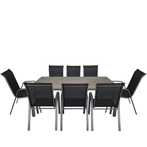 9tlg. Gartengarnitur Aluminium Polywood Gartentisch 205x90cm + stapelbarer Gartenstuhl Stapelstuhl mit Textilenbespannung Stahlgestell pulverbeschichtet Sitzgruppe Sitzgarnitur Gartenmöbel Terrassenmöbel Set