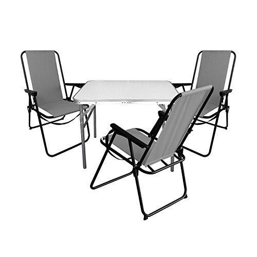 Multistore 2002 4tlg. Campingmöbel Set Aluminium Klapptisch 75x55cm + 3X Campingstühle Grau, klappbar inkl. Schultergurt, Gartenmöbel Campinggarnitur
