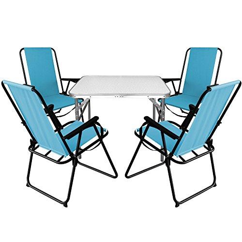 Multistore 2002 5tlg. Campingmöbel Set Aluminium Klapptisch 75x55cm + 4X Campingstühle Blau, klappbar inkl. Schultergurt, Gartenmöbel Campinggarnitur