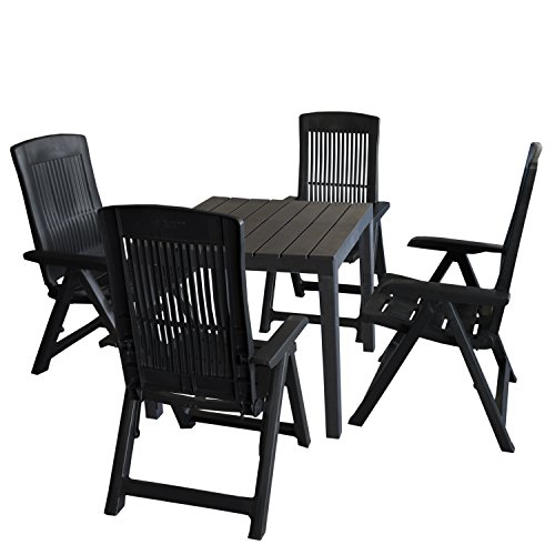 Multistore 2002 5tlg Gartenmöbel-Set Gartentisch, Kunststoff Anthrazit, 78x78cm, Holzoptik + 4X Klappstuhl Tampa, Kunststoff, Anthrazit