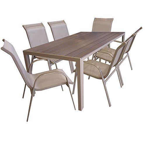 Multistore 2002 7er Gartengarnitur Aluminium Gartentisch mit Polywood-Tischplatte, 205x90cm, Stapelstuhl pulverbeschichtet mit Textilenbespannung, Gartenmöbel Set