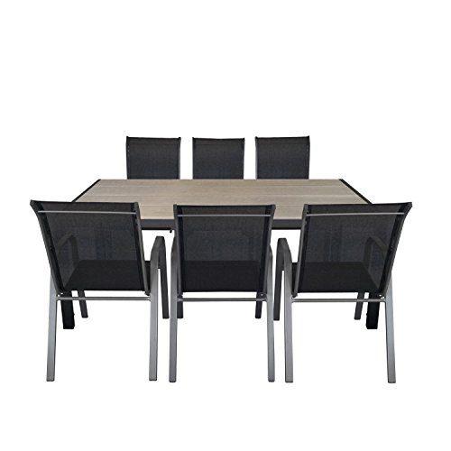 Multistore 2002 7tlg. Gartengarnitur Aluminium Polywood Gartentisch 205x90cm + stapelbare Gartenstühle Stapelstuhl mit Textilenbespannung