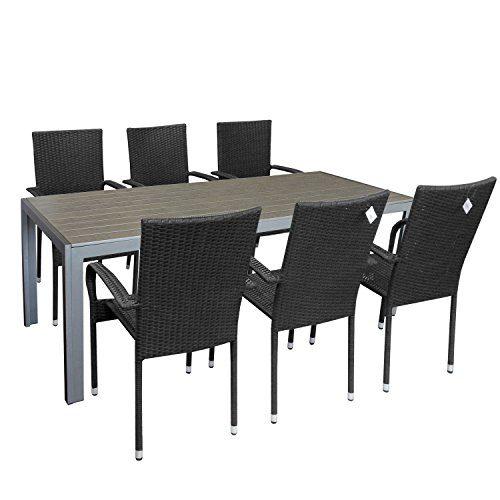Multistore 2002 7tlg. Gartengarnitur Gartenmöbel-Set Gartentisch mit Polywood Tischplatte 205x90cm stapelbare Rattansessel Stapelstuhl Polyrattan Sitzgarnitur Sitzgruppe Terrassenmöbel Gartenmöbel