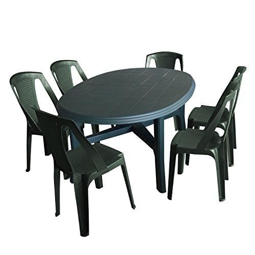 Multistore 2002 7tlg Gartenmöbel-Set Gartentisch, 165x110cm, Sonnenschirmöffnung + 6X Stapelstuhl Procida - Kunststoff, Grün