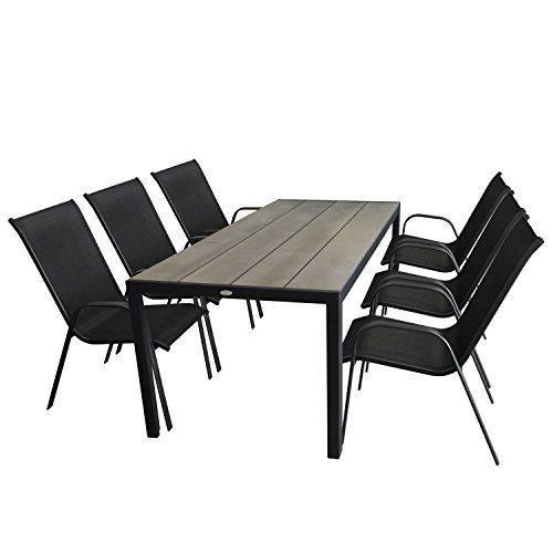 Multistore 2002 7tlg. Gartenmöbel-Set Gartentisch, Aluminium, Tischplatte Polywood, 205x90cm + 6X Stapelstuhl, Textilenbespannung, Schwarz