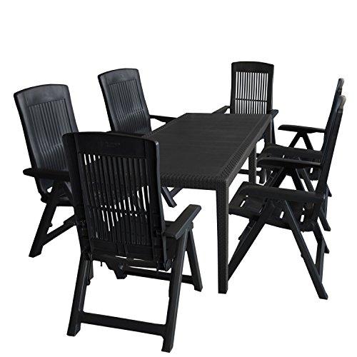 Multistore 2002 7tlg. Sitzgruppe Gartentisch, erweiterbar, 150/220x90cm + 6X Hochlehner, Kunststoff, Anthrazit/Klappstuhl Ausziehtisch Gartenmöbel Kunststoffmöbel Campingmöbel Set