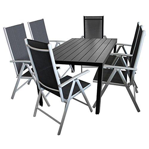 Multistore 2002 7tlg. Terrassenmöbel Set Sitzgruppe 6X Hochlehner Klappstuhl pulverbeschichtet Textilenbespannung + Gartentisch Aluminium Polywood/Non Wood Schwarz 150x90cm