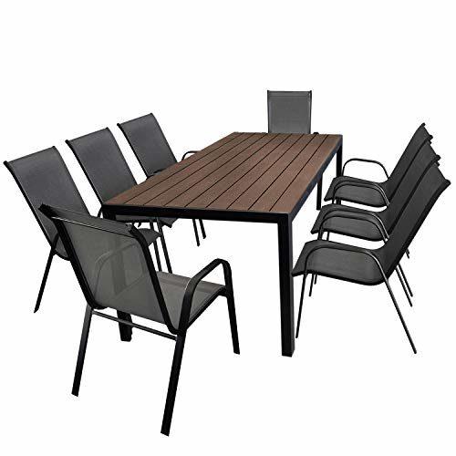 Multistore 2002 9tlg. Gartengarnitur Aluminium Gartentisch, Tischplatte Polywood Braun, 205x90cm + 8X Stapelstuhl, Textilenbespannung in Grau - Gartenmöbel Set Sitzgarnitur Sitzgruppe