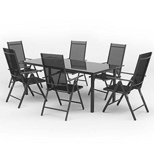 OSKAR Alu Sitzgarnitur Gartenmöbel Set 7-teilig Garnitur Sitzgruppe 1 Tisch 190x87 + 6 Stühle (Silber/Schwarz)