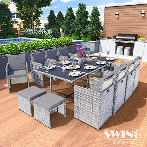 Swing & Harmonie Polyrattan Sitzgruppe Esstisch Lounge Sitzgarnitur Essgruppe Gartenmöbel Set
