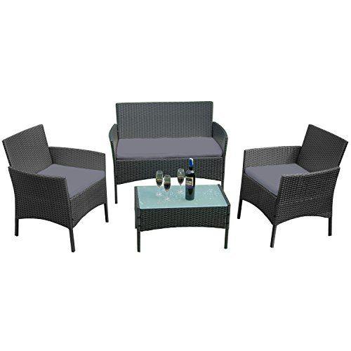 UISEBRT Gartenmöbel Poly Rattan Balkonmöbel Sitzgruppe Lounge Set - Mit 2-er Sofa, Singlestühle, Tisch und Anthrazit Sitzkissen