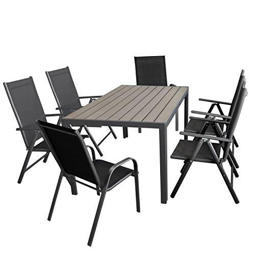 Wohaga Gartenmöbel-Set Aluminiumtisch mit Grauer Polywood-Tischplatte, 150x90cm + 4X verstellbare Alu Hochlehner mit Textilenbespannung + 2X Stapelstuhl mit Textilenbespannung